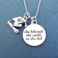 Graduation cap, she believed, she could... so she did, Silver, Necklace, Achievement, Accomplishment, Mortarboard, Graduation, Gift, Jewelry