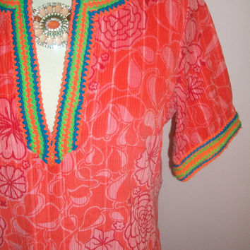 Vtg 60s The Lilly Pulitzer Orange Cord Crochet Trim Tunic Dress Metal Zip Super Special Lilly Piece