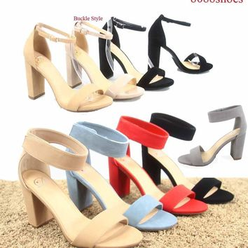 Women's Cute Open Toe Ankle Strap Chunky Heels Sandals Shoes Size 5.5 - 11 NEW   1