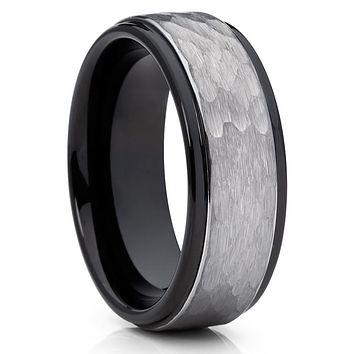 8mm - Black Wedding Band - Tungsten Wedding Ring - Hammered - Tungsten