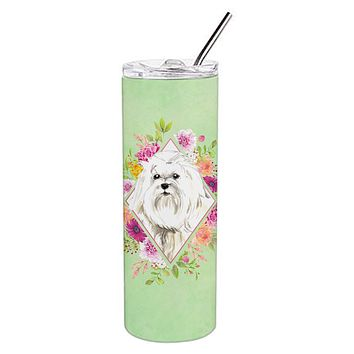 Maltese Green Flowers Double Walled Stainless Steel 20 oz Skinny Tumbler CK4383TBL20