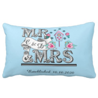 Mr and Mrs Personalized Wedding Gift Throw Pillows