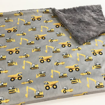 Grey Construction Baby Blanket, Yellow Tractors Excavators Diggers Baby Bedding, Baby Boy MINKY Blanket, Ready to Ship Baby Shower Gift