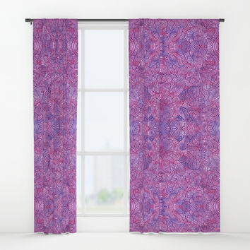 Hot pink and purple swirls doodles Window Curtains by savousepate