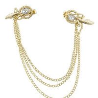 Gold Stone Wing Detail Draped Hair Clip