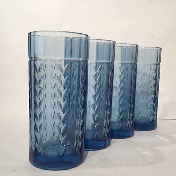 Anchor Hocking Laurel Leaf Cobalt Blue Glass Tumblers| Set of 4 Blue Drinking Glasses | Iced Tea Glasses