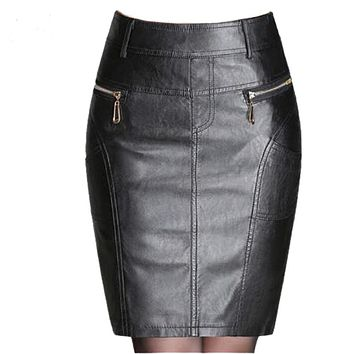 Autumn Winter Zipper Women's Leather Skirt