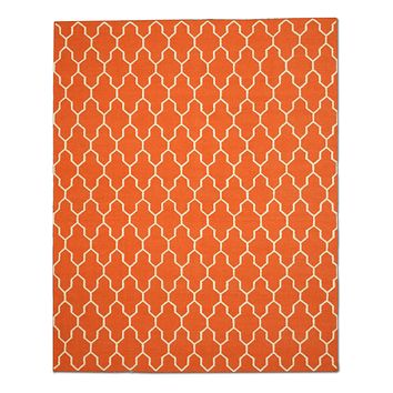EORC Handmade Wool Orange Transitional Trellis Reversible Modern Moroccan Kilim Rug
