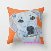 Pet portrait on orange Pillow 16 x 16 Pillow Cover Throw Pillow, throw pillows, dog pillows, decorative throw pillows, novelty throw pillows