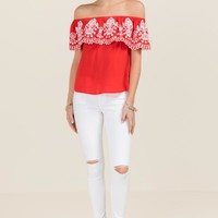 Leyla Embroidered Ruffle Off The Shoulder Top