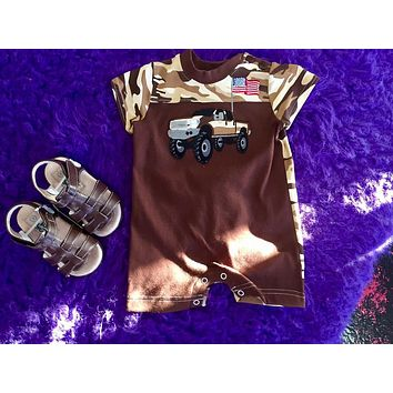 Walley and Willie By Peaches N Cream 2017 Camo Truck Infant Romper