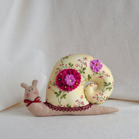 Soft Fabric Toy for Home Decor - Snail Pink Berries  - Easter, Spring, Summer, Gift