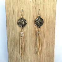 Rope Tassel & Fringe Earrings In Brass Gold