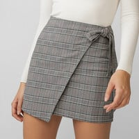 Plaid Wrap Tie Mini Skirt