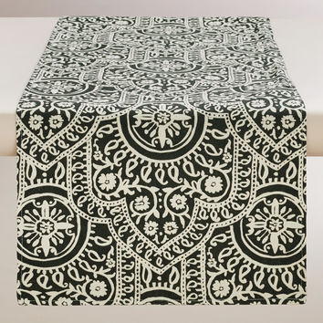Black and White Rocco Table Runner - World Market