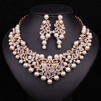 Fashion Pearl Statement Necklace Earrings Bridal Jewelry Sets Bride Gold Color Jewellery Wedding Prom Dress Accessories Women