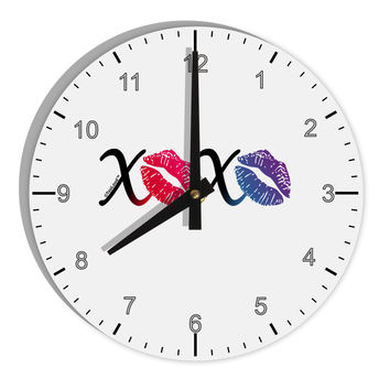 "TooLoud XOXO Kisses 8"" Round Wall Clock with Numbers"
