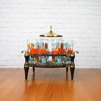 Mid Century Cocktail Bar Caddy, Atomic Barware Set, Eclipse Highball Glasses, Ice Bucket, Tongs