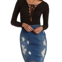Long Sleeve Lace-Up Bodysuit by Charlotte Russe