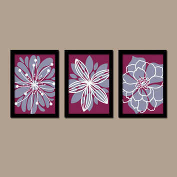 Purple Plum Eggplant White Flower Burst Outline Dahlia Floral Bloom Artwork Set of 3 Prints WALL Decor Abstract ART Picture Bedroom Bathroom