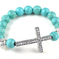 Simulated Turquoise Beads Sideways Cross Bracelets Fashion