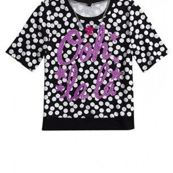 Justice Girl's OOH LALA Black & White Pattern Necklace Tee Size 14 NWT $36.90