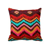 Aztec Zig Zag Tribal Inspired Fashion Pattern Pillow from Zazzle.com