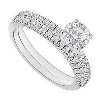 14K White Gold : Diamond Engagement Ring with Wedding Band Set 1.00 CT TDW