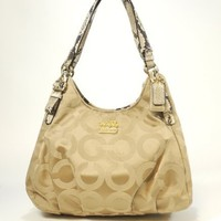 Coach Madison Op Art Sateen Maggie Shoulder Tote Khaki Natural