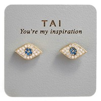 Women's Tai Stud Earrings - Gold/ Blue Evil Eye