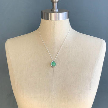 Vintage Sterling Silver Green Jade Heart Pendant Necklace with Rhinestone Accents on 18inch Petite Sterling Silver Chain