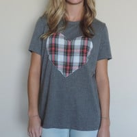New Gray Tri-Blend Upcycled Plaid Heart Short Sleeve Shirt // Size S-L