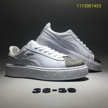 """Fenty Puma By Rihanna"" Women Sport Casual Fashion Sequin Thick Bottom Piatforam Plate Shoes Small White Shoes Sneakers"