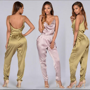sexy backless romper women pink satin jumpsuit 2017 summer women one piece bandage jumpsuit night club wear full bodysuits XD828