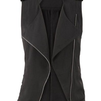 Asymmetrical Lightweight Zip Front Vest - Black