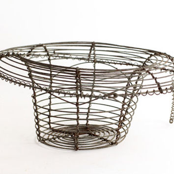 French Vintage Wire Basket - Antique Table Centerpiece - Wirework