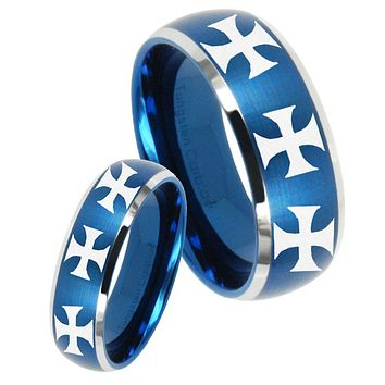 His Her Satin Blue Dome Multiple Maltese Cross Two Tone Tungsten Wedding Rings Set