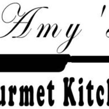 Personalized Gourmet Kitchen vinyl decal lettering, home kitchen wall decor
