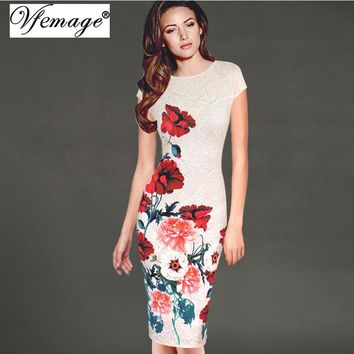 Vfemage Womens Elegant Vintage Floral Flower Printed Charming Pinup Casual Party Evening Sheath Bodycon Pencil Dress 3048