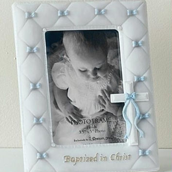 4 Baptism Picture Frames - Baby Boy