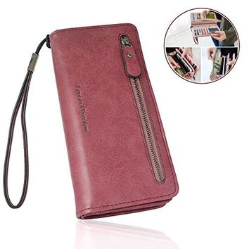 FIGROL Fashion Women PU Matte Leather Long Wallet RFID BlockingPhone Card HolderLarge Capacity Wallet