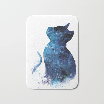 Blue Cat Bath Mat by monnprint