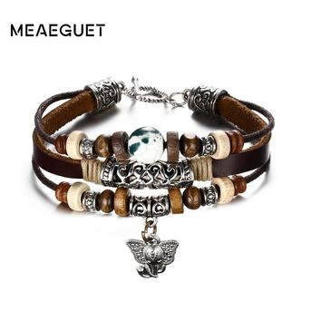 Vantage Brown Color Genuine Leather Bracelet Wood Beads Alloy Elephant IQ  Toggle Clasps Punk Causal Male Best Friend Gifts