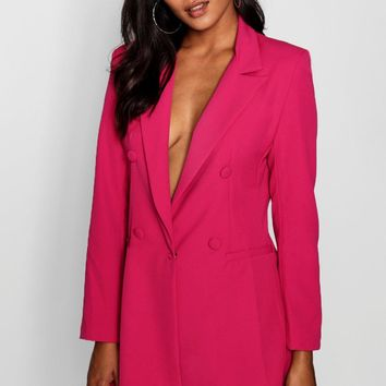 Vicky Double Breasted Power Shoulder Dress   Boohoo