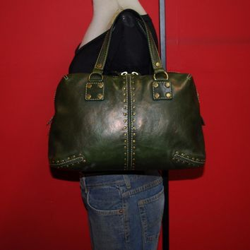 MICHAEL KORS Green Leather ASTOR Leather Studded Doctor Shopper Tote Purse Bag