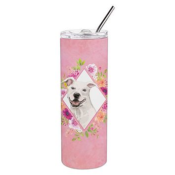 White Pit Bull Terrier Pink Flowers Double Walled Stainless Steel 20 oz Skinny Tumbler CK4268TBL20