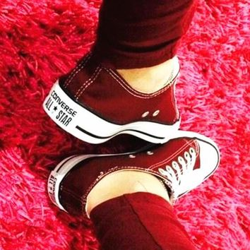 Converse All Star Sneakers canvas shoes for Unisex sports shoes Low-top wine red