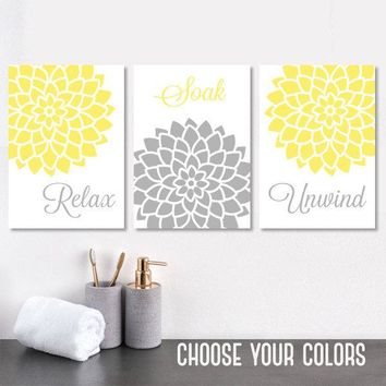 YELLOW Gray BATHROOM WALL Art, Canvas or Prints, Bathroom Decor, Relax Soak Unwind Quotes, Flower Bathroom Wall Decor, Set of 3 Pictures