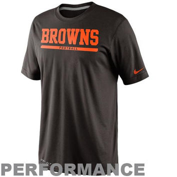 Nike Cleveland Browns Dri-FIT Legend Elite Font Sideline Performance T-Shirt - Brown