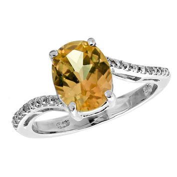 Oval Citrine and Diamond Accent Ring in Sterling Silver
